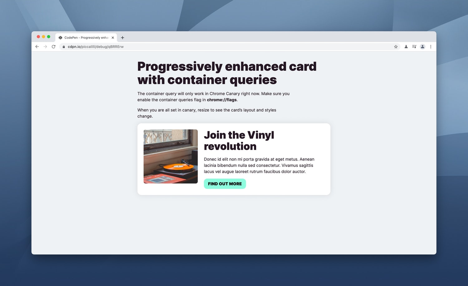 The above demo in a Canary browser so the container query works. The card now has an inline layout with flexbox