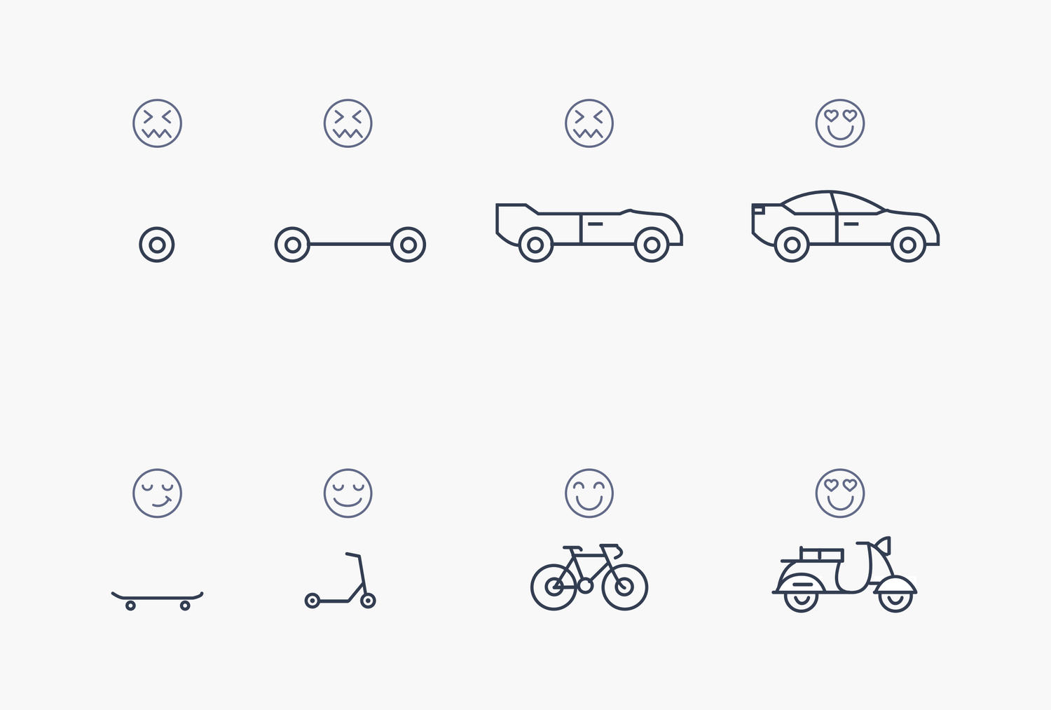 A diagram often used to demonstrate a minimum viable product. It's explained in detail over the next few paragraphs