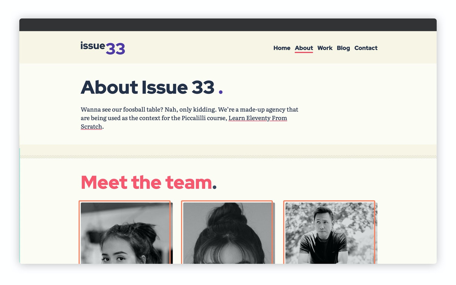 The about page all styled up with a 3 column grid of team members