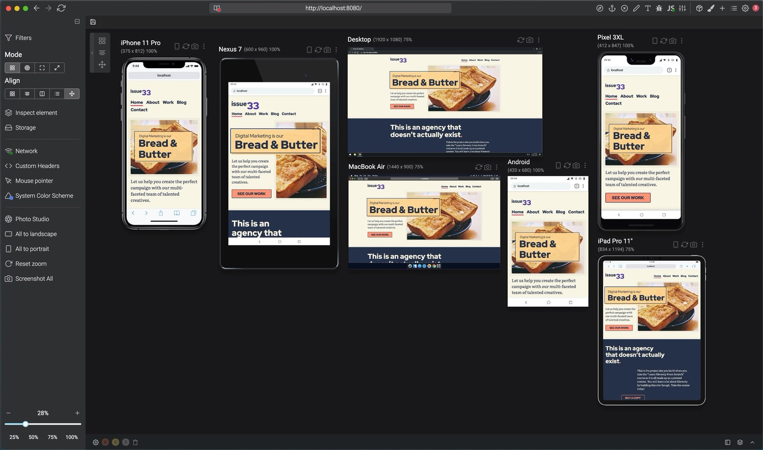The home page intro morphs between a stacked layout and a complex grid layout based on the viewport. There are multiple devices such as iPhones, Macs and Android phones