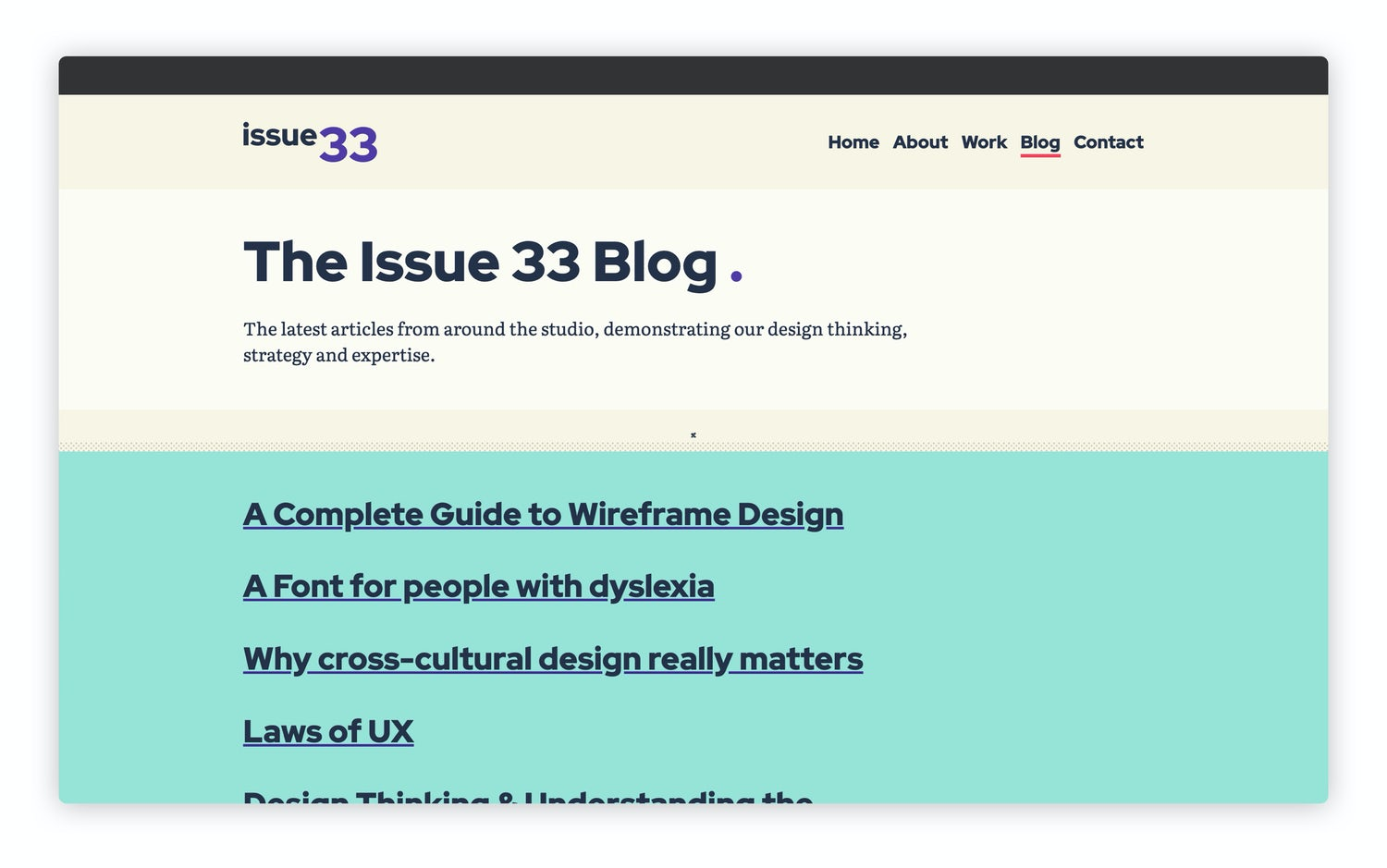 A page header with white background leads a list of links with large text on a teal background