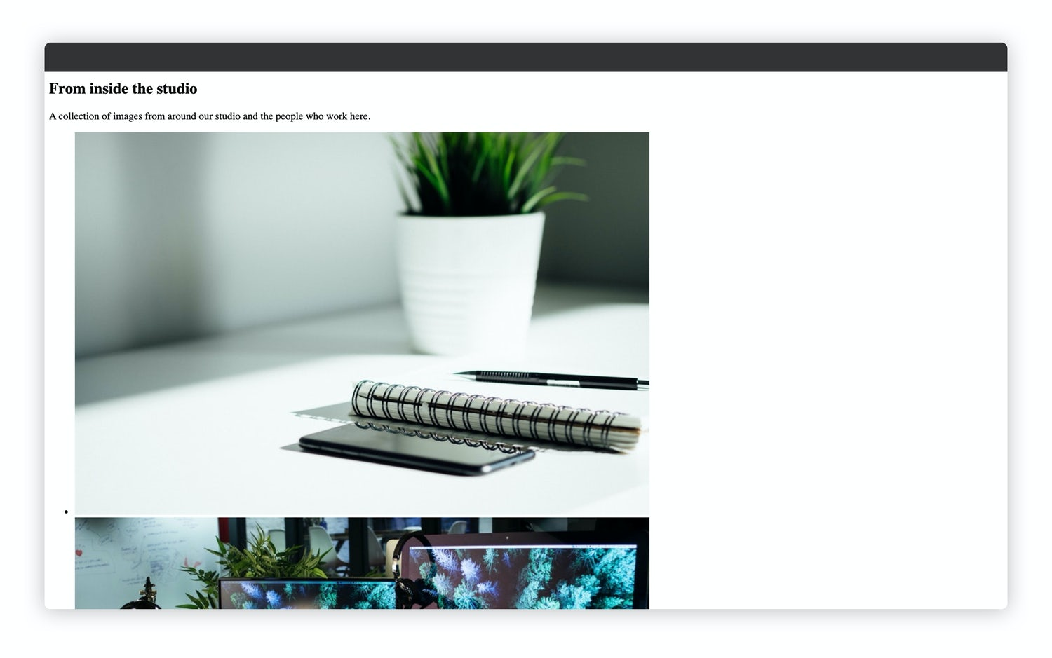 The addition of various hipster studio images on the home page
