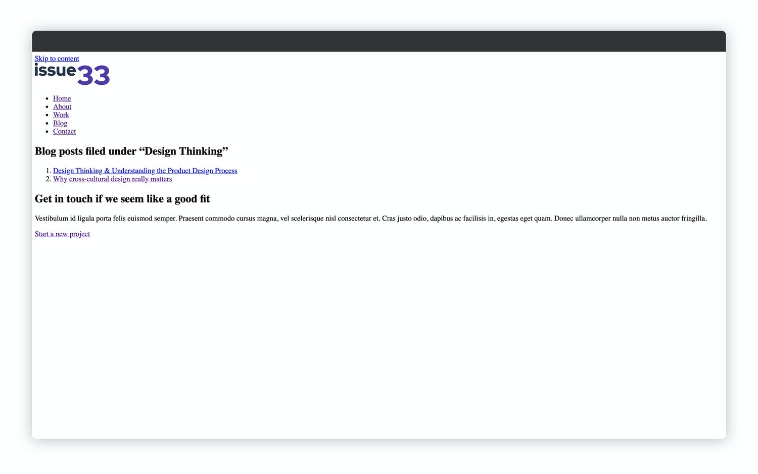 A similar looking view but it shows the design thinking tag's posts