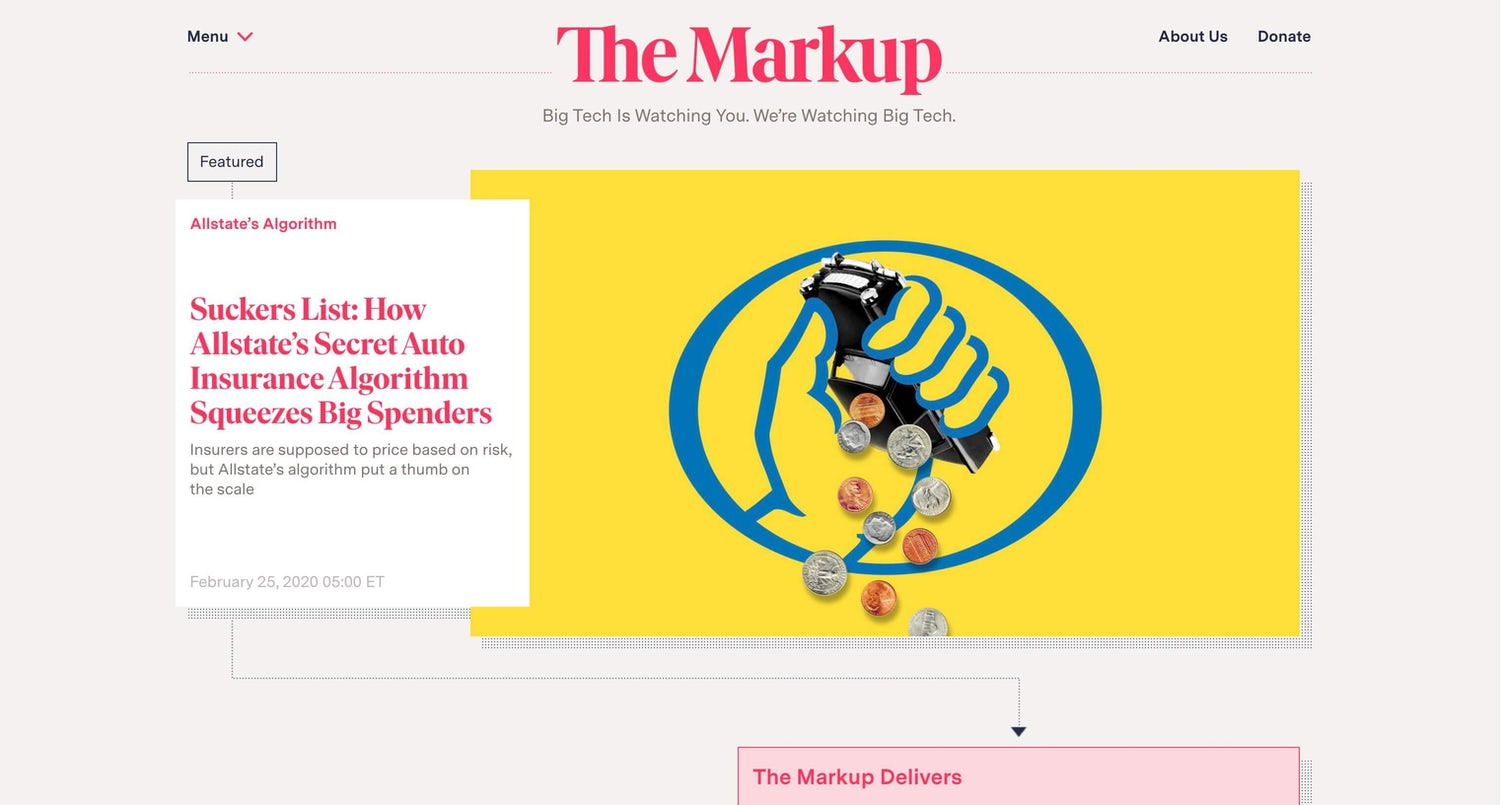 The Markup homepage with lovely dotted detailing