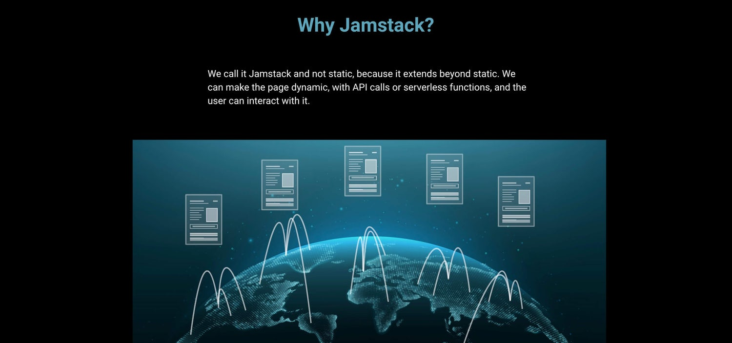 A slide from the Why Jamstack animation