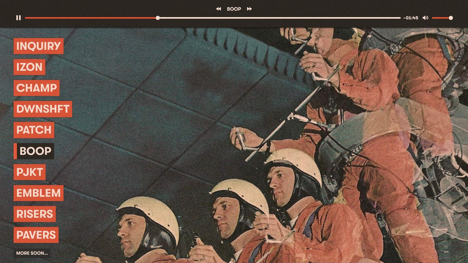 A super vintage looking site with a distressed background image of cosmonaut