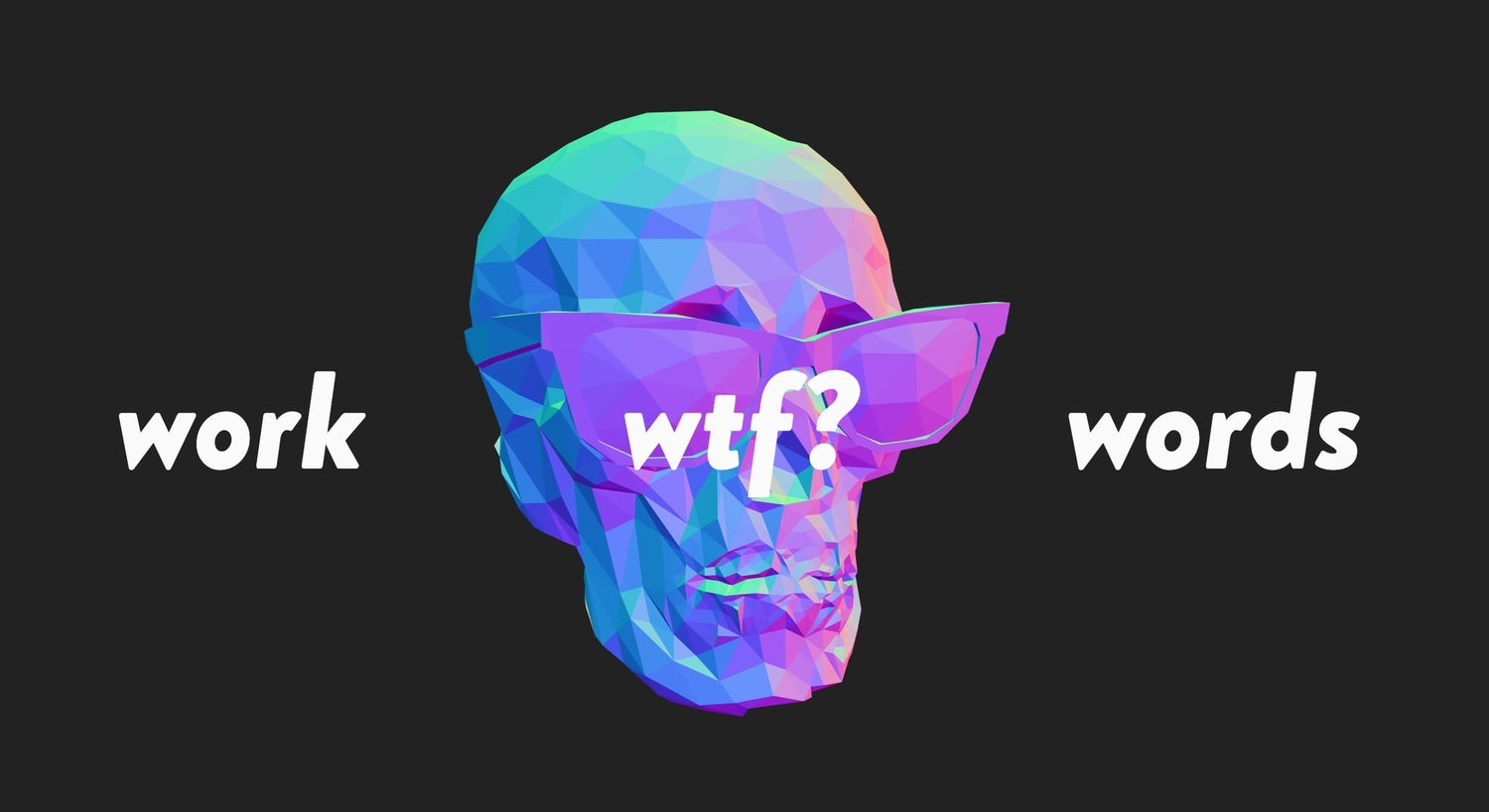 A high-contrast, low-poly skull that's 3d rendered as the main feature of the homepage