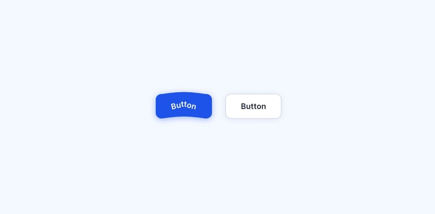 A blue button and white button. The blue button is bent up, like it's made of jelly