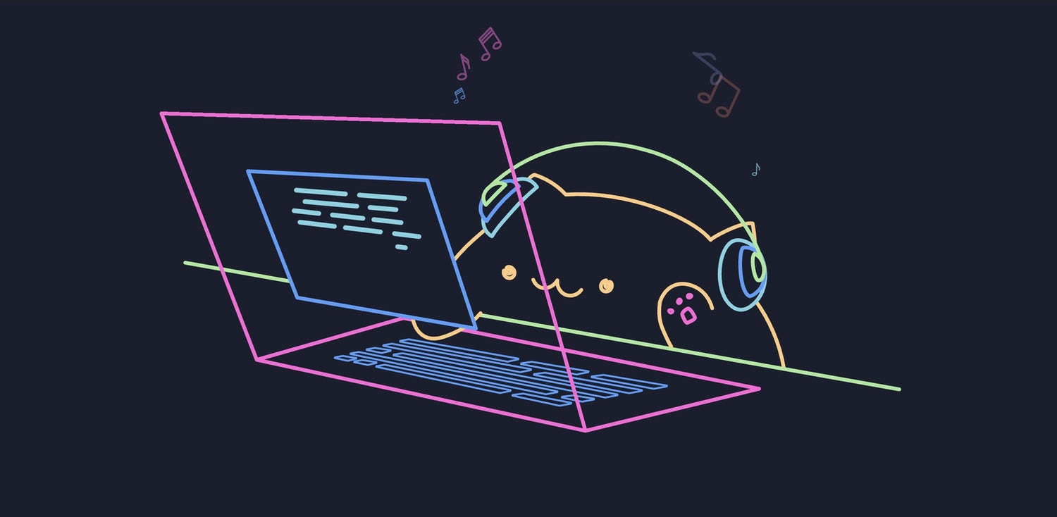 A neon cat, wearing headphones, types on a keyboard