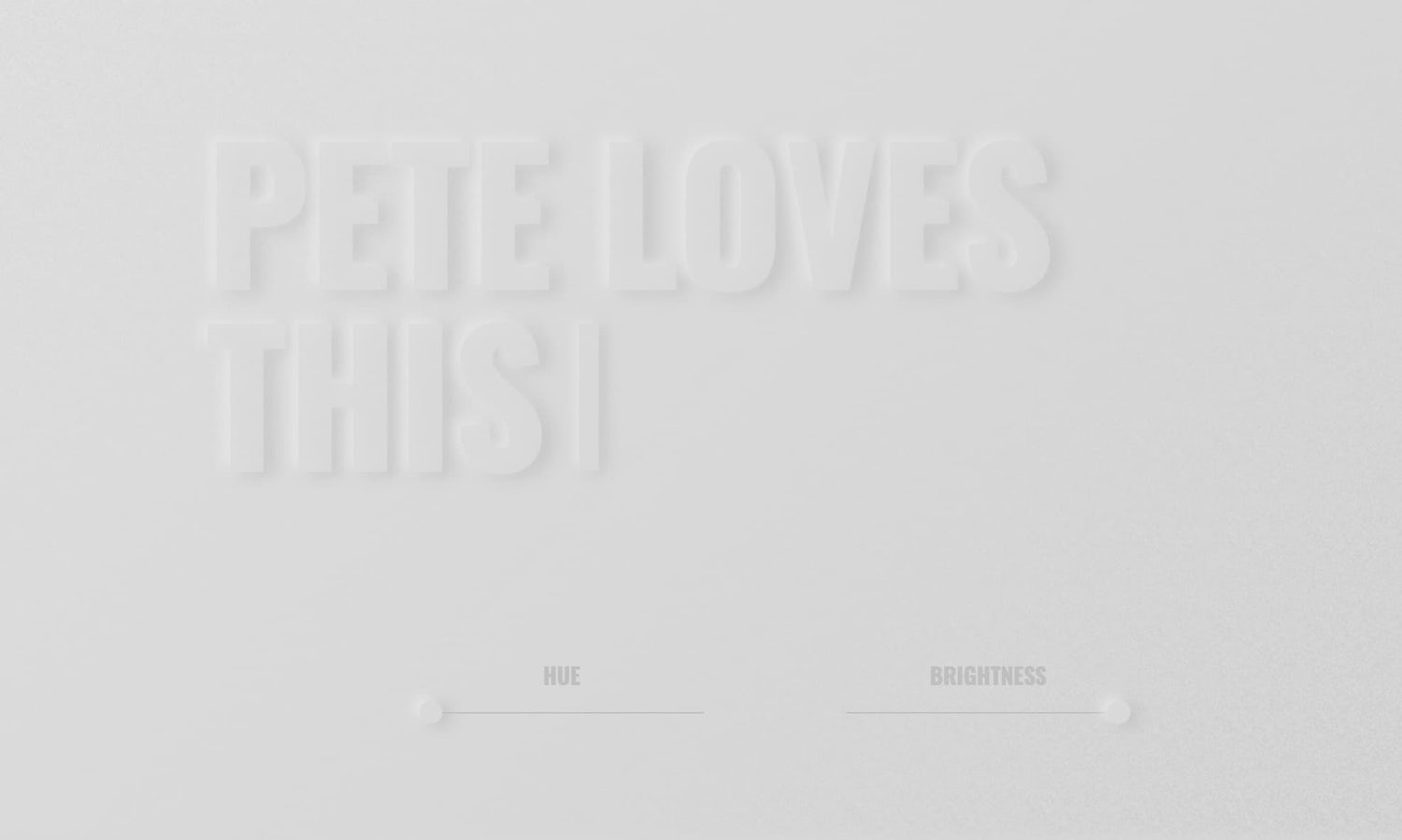 "Extremely low contrast text reads ""Pete loves this"""
