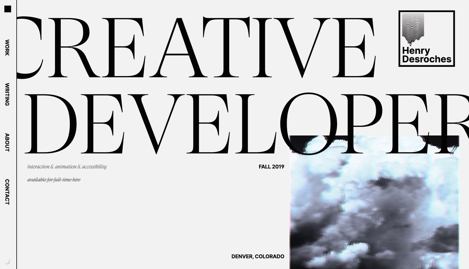 Henry's homepage with some stunning huge type