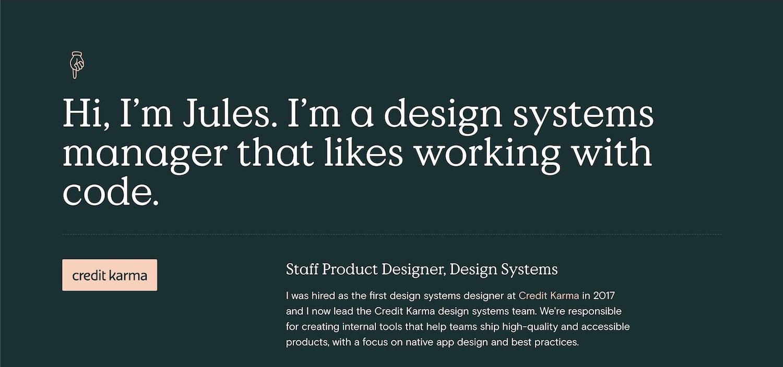 Jules' homepage looking sharp