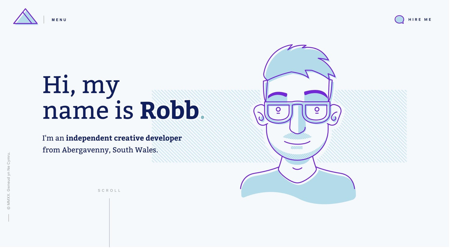 Robb's homepage featuring an illustration of himself