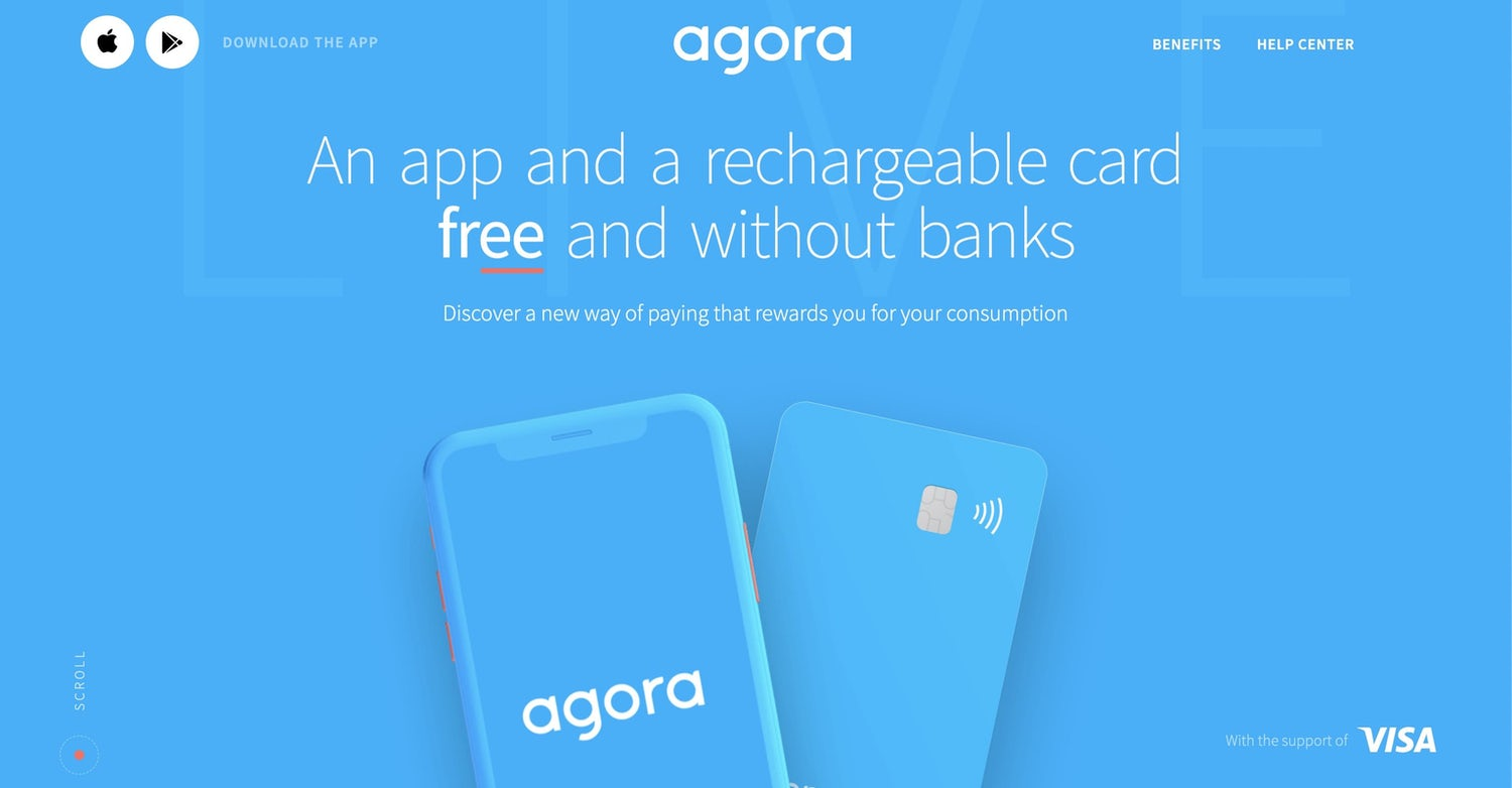 A mainly blue site with a 3D rendered phone and 3D rendered creditcard