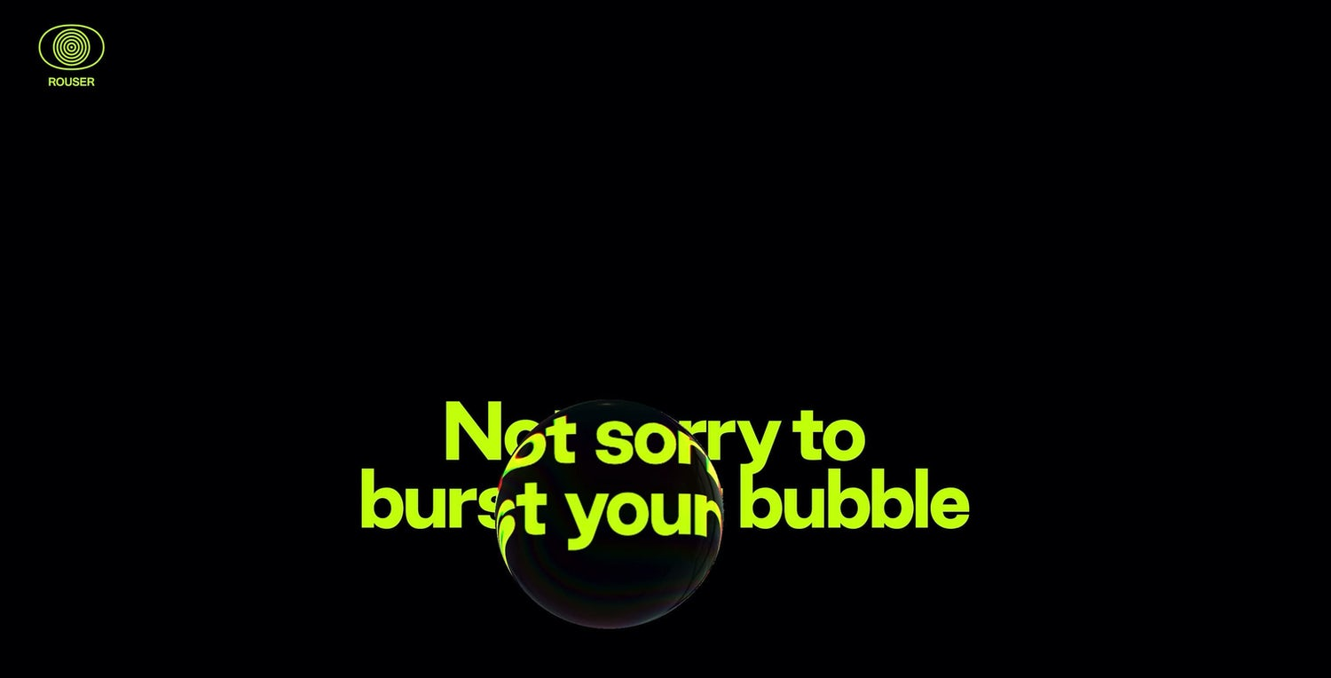 A black backround with bright green text. A bubble hovers over thetext