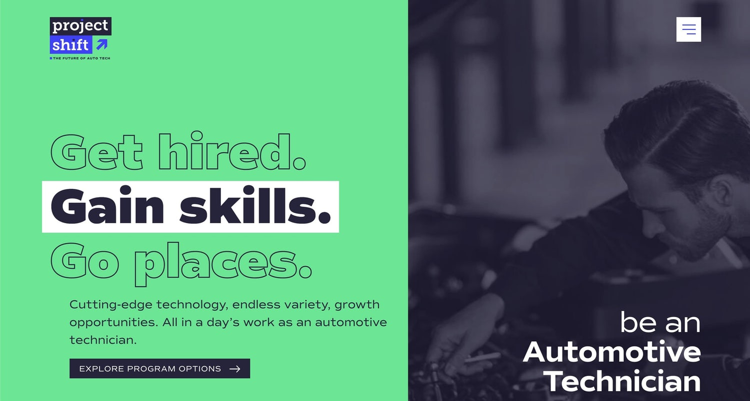 Very bright green background with dark purple text. A purplemono-tone image of a mechanic working is on theright