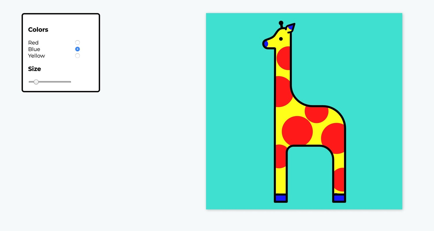 An illustration of a giraffe that you can paint with variouscontrols