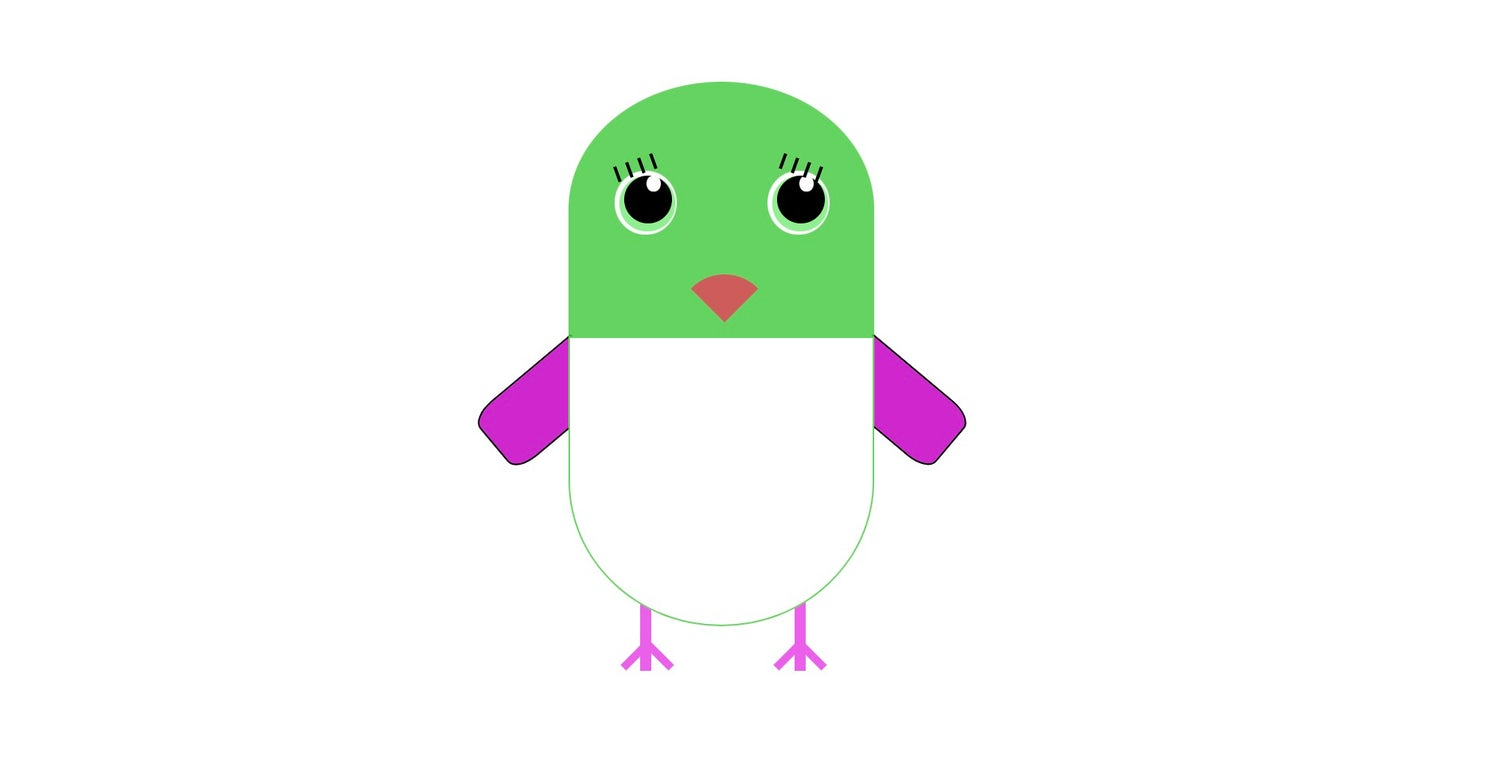 A green, white and pink bird