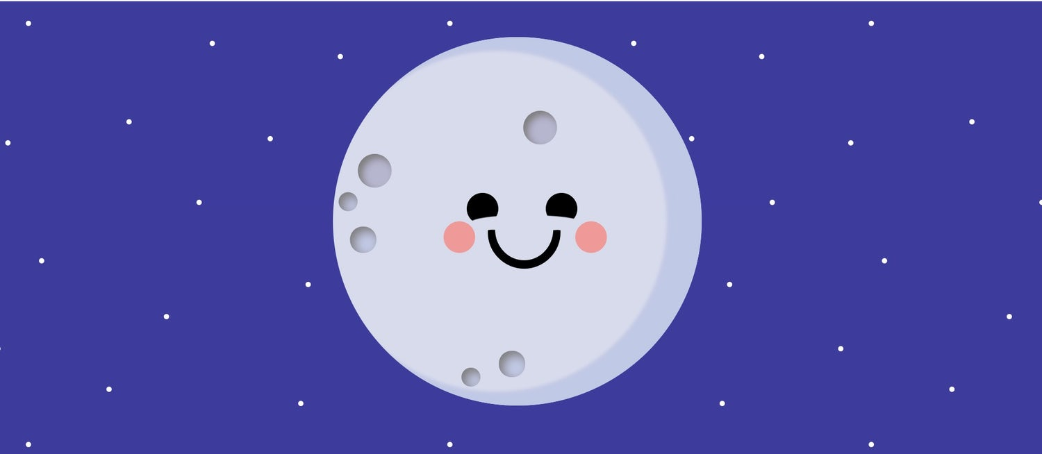 A lovely smiling moon on a purple background with little stars