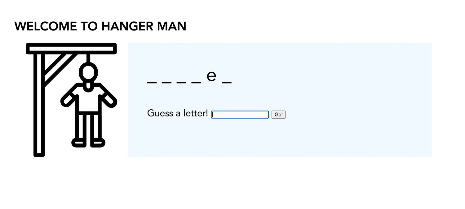 Hangman on the left and the word puzzle and input on the right