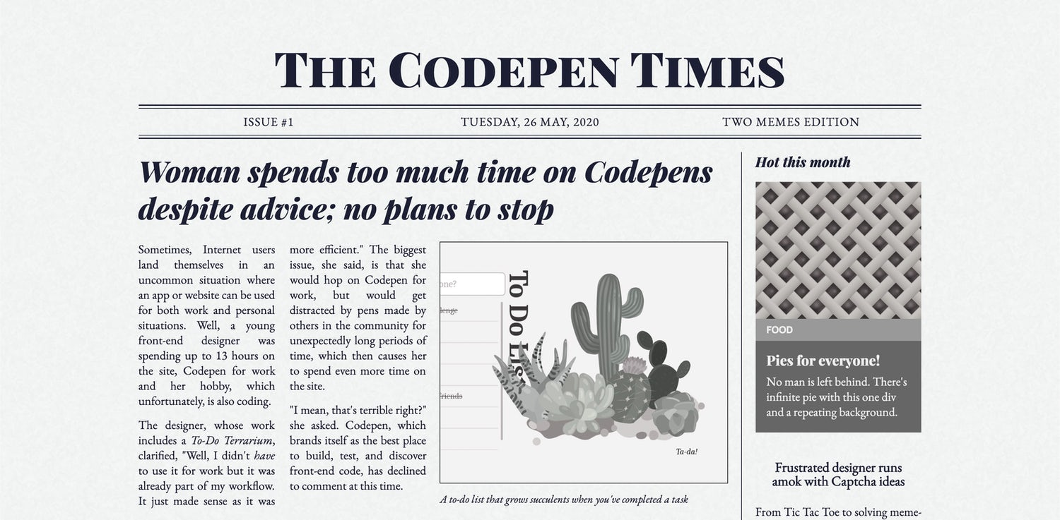 A demo that very much has the look and feel of a traditional broad-sheet newspaper