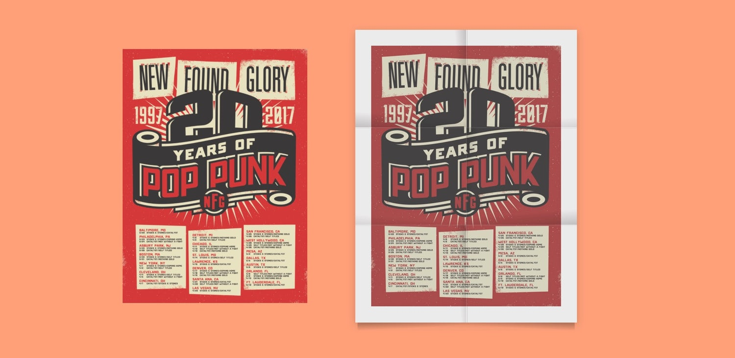 Two new found glory posters. One is standard digital and the other looks like it has been printed on folded paper