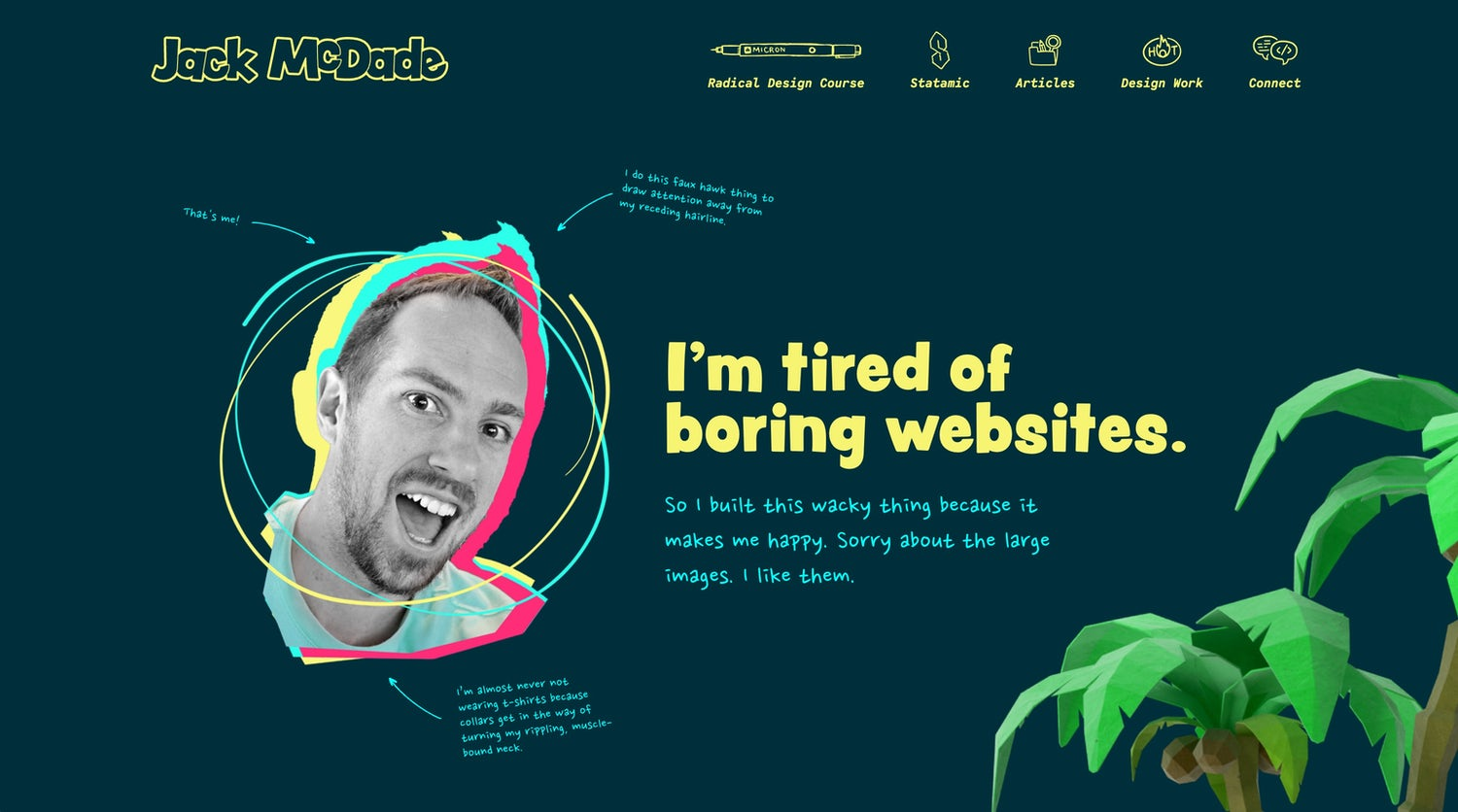 A very bold, colourful homepage with a massive picture of jack's head