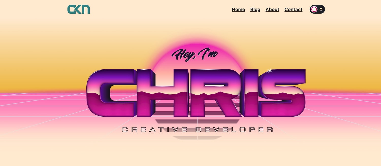 An extremely 80s homepage with Chris in huge, shiny letters