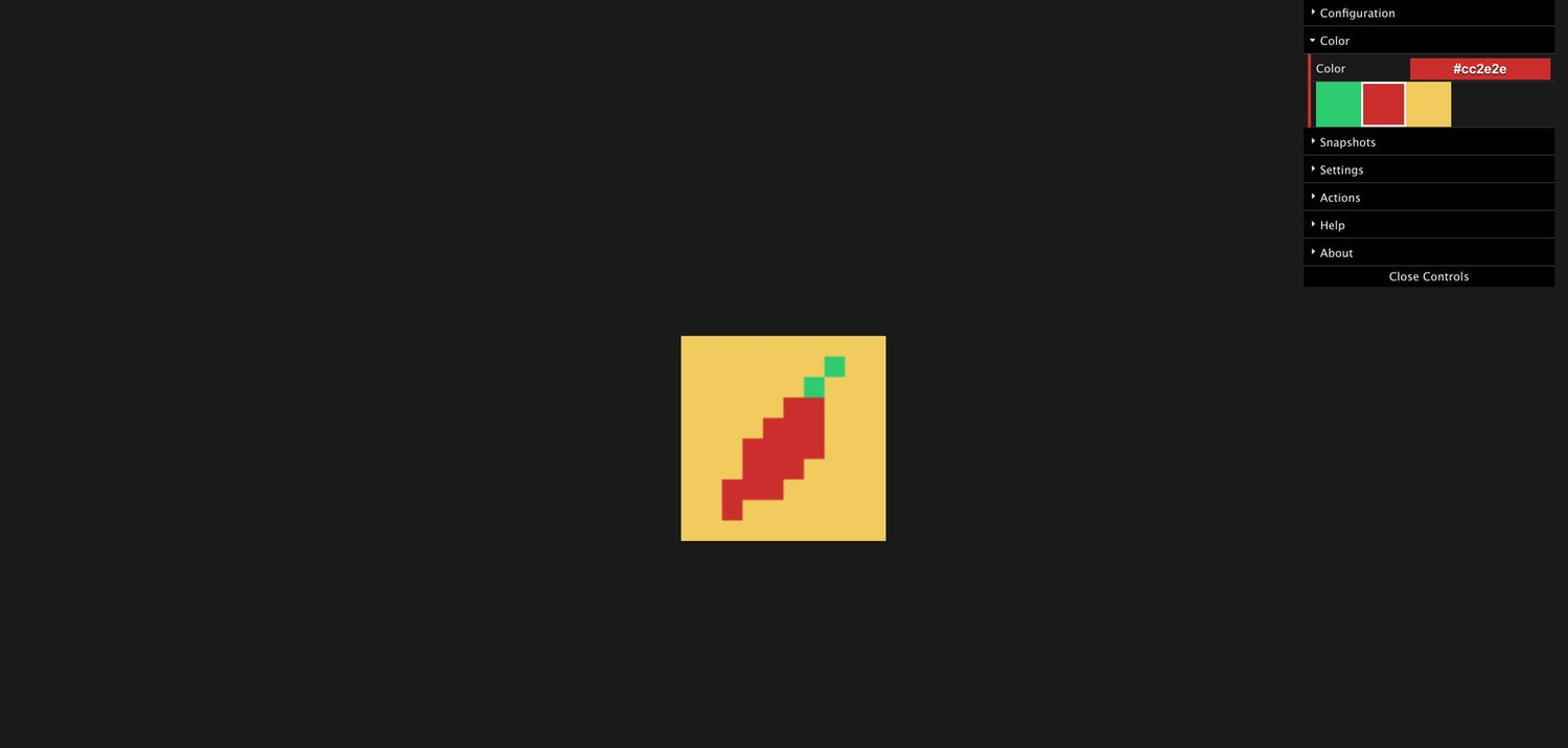 A pixel generated version of the piccalilli pepper logo