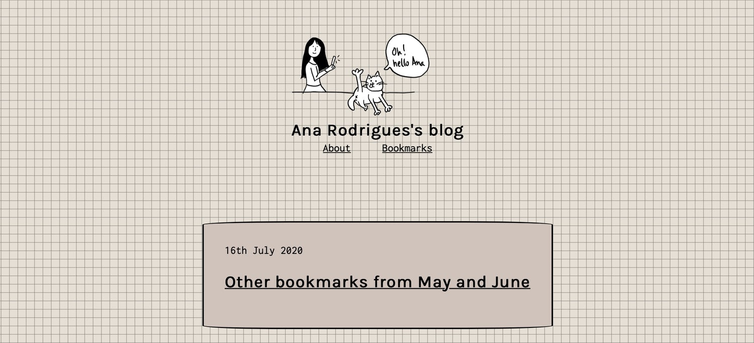 Ana's blog homepage with sketch effect boxes on a grid background