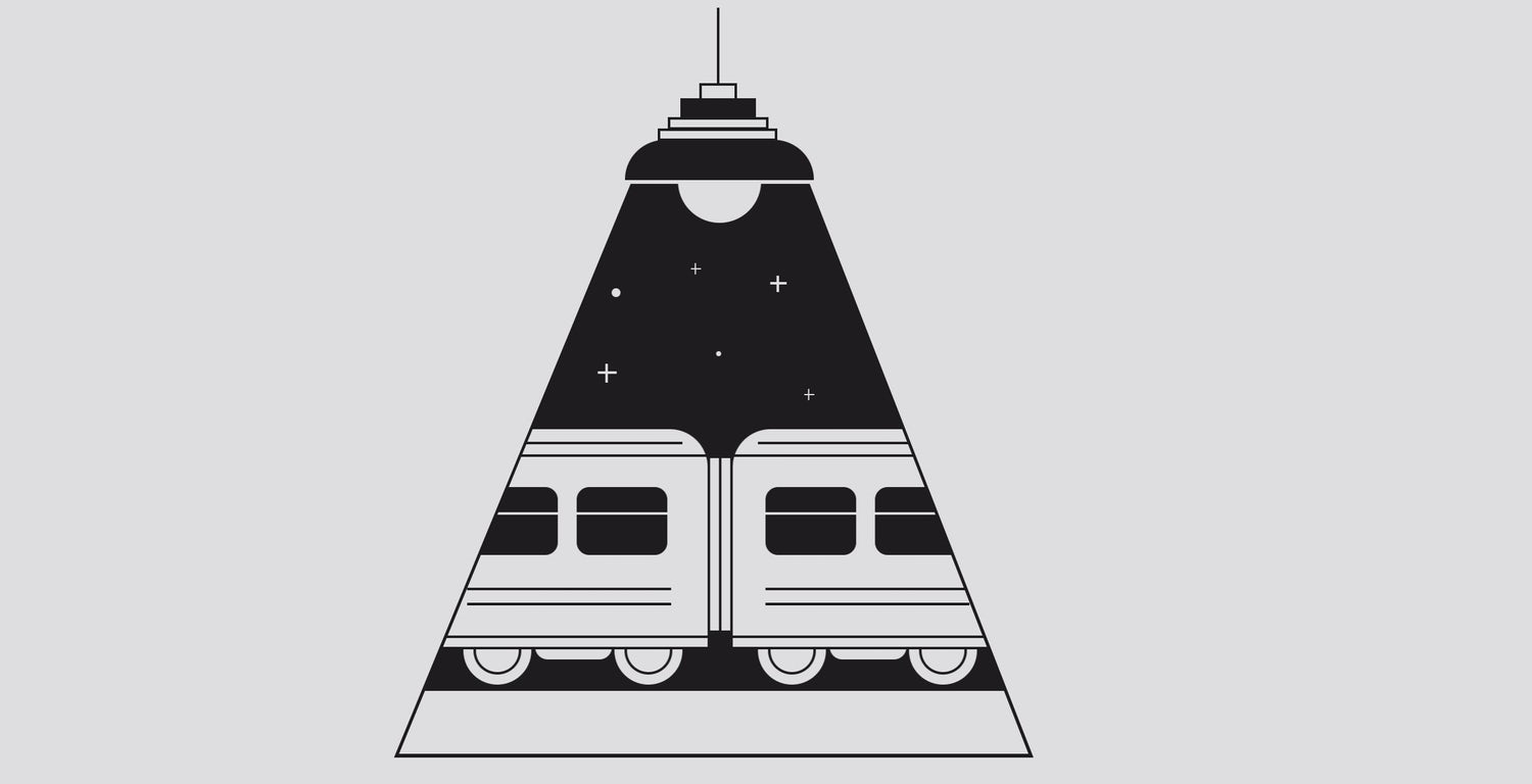 A night train animation that is masked by the shape of a single light beam