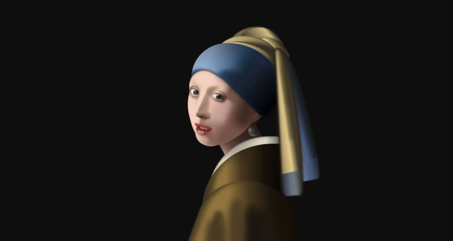 CSS art that looks like an oil painting of a woman