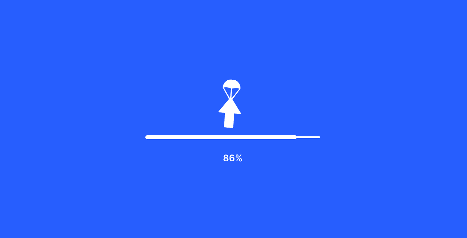 A little box with a parachute on its way down, showing 80% complete