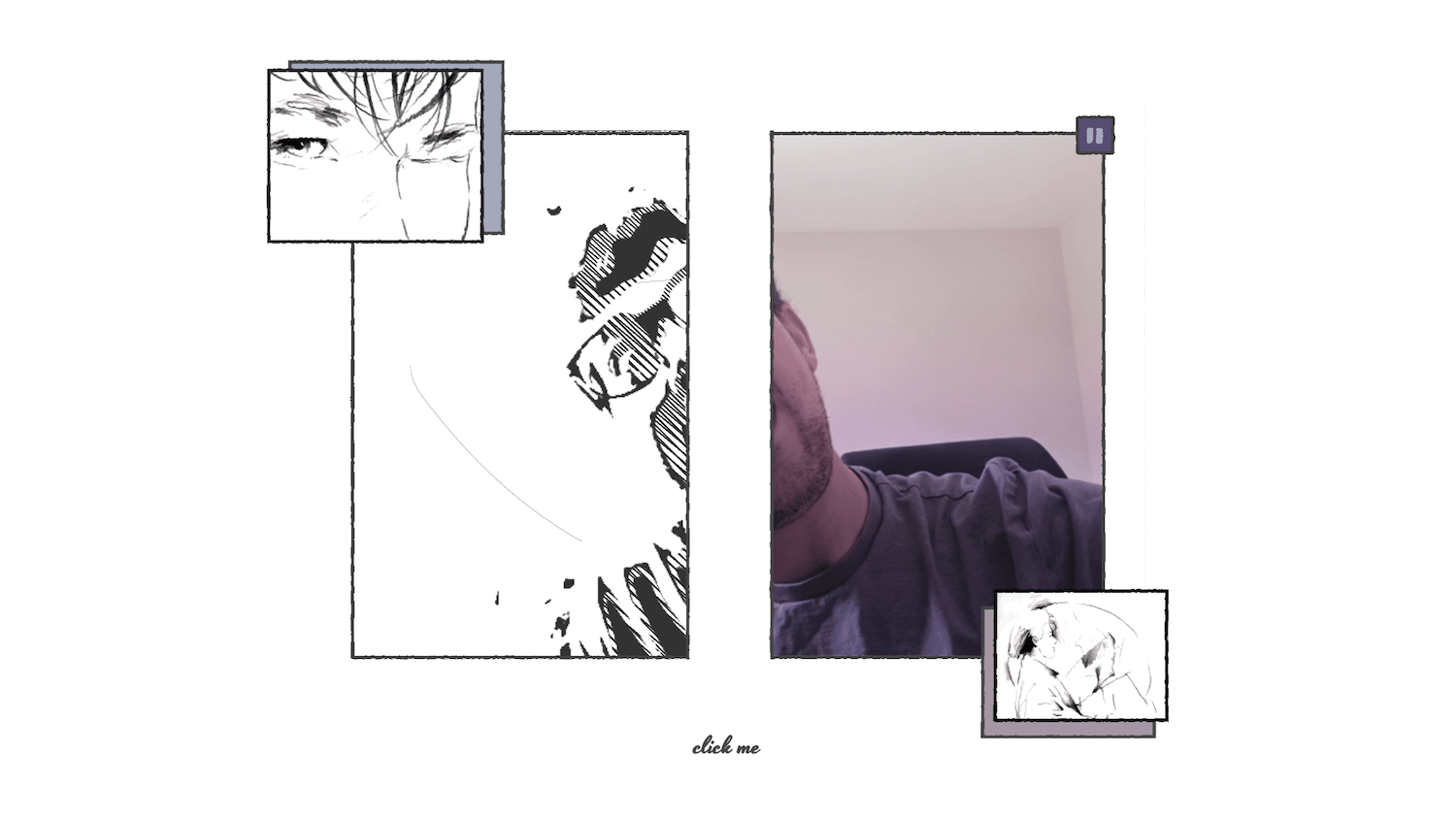 A very sketchy-style UI with the main part being my face, half normal and half sketch