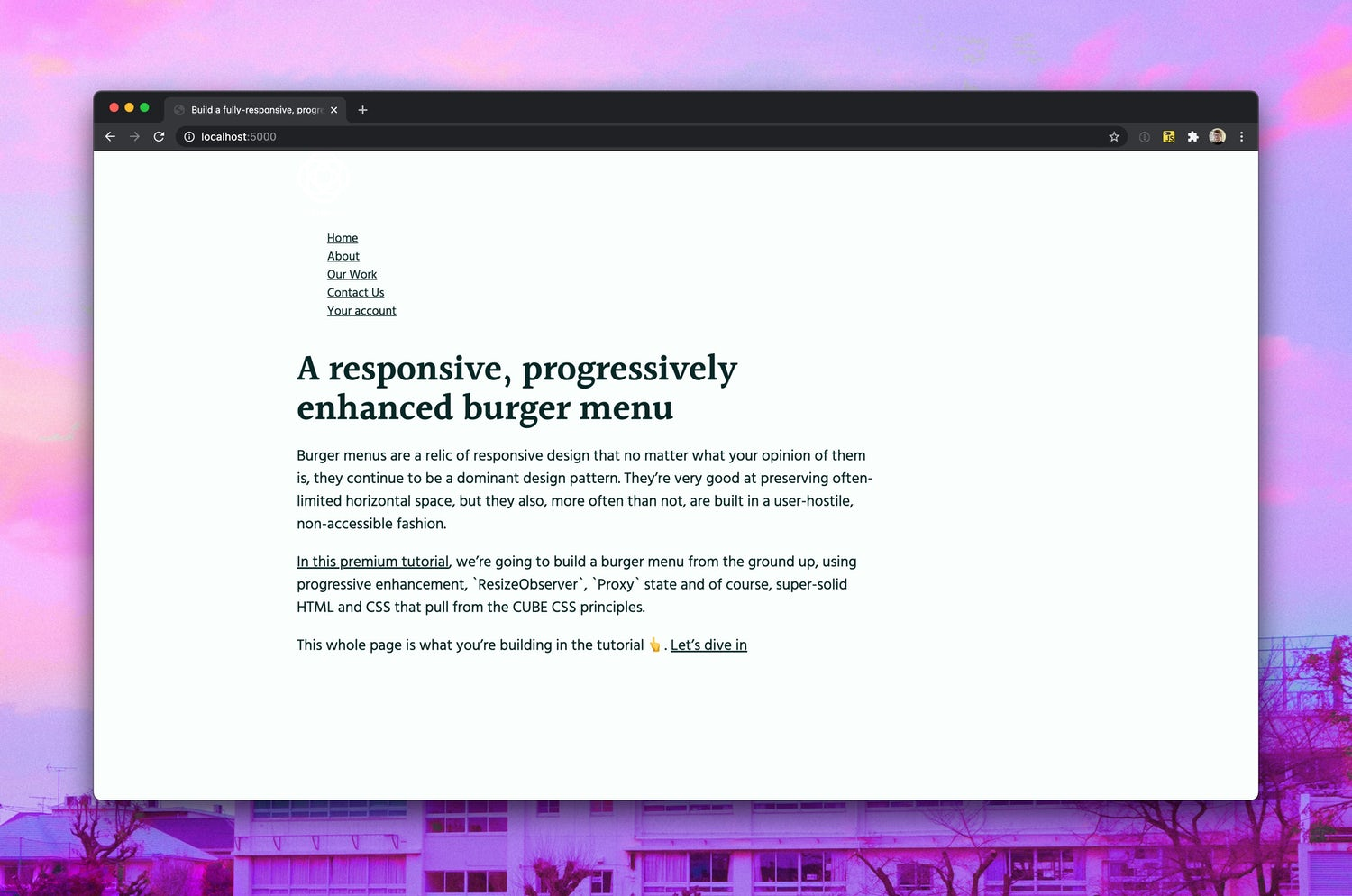 A very basic page, with mostly HTML with a touch of CSS