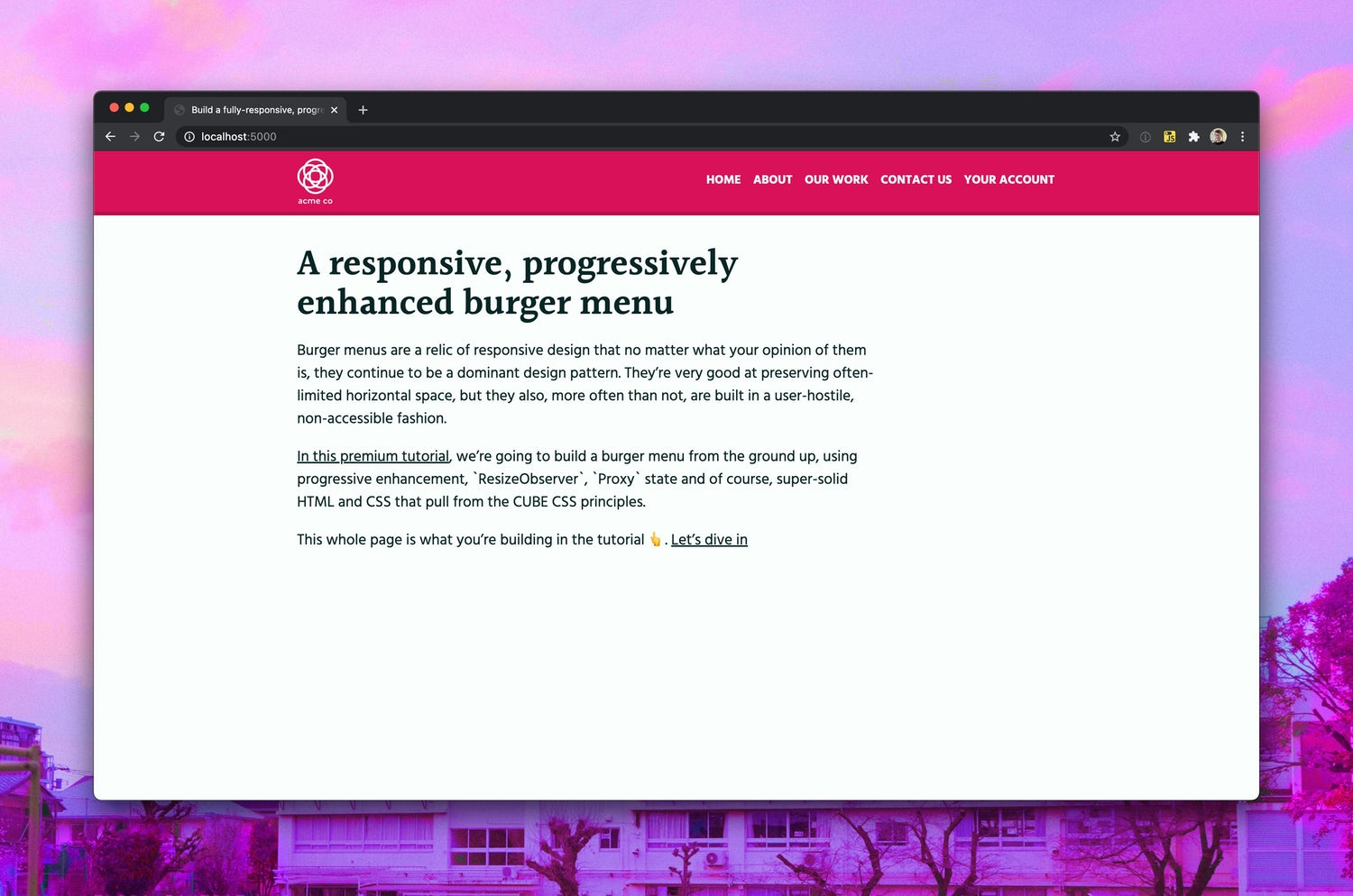 A fully styled page with a bright reddish pink main site head