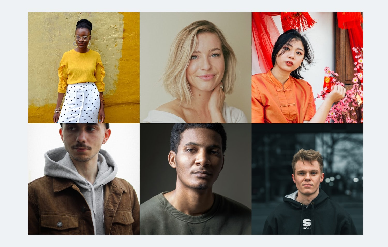 A grid of very different colour-treated profile shots of people